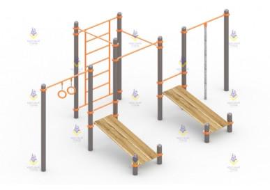 Комплекс из 3 турников, 2 скамеек для пресса, шведской стенки, каната и гимнастических колец