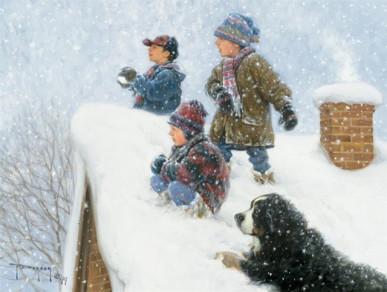 Снежки на детской площадке