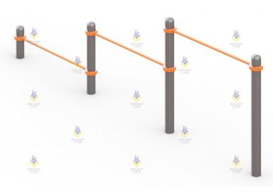Тройной каскад турников для отжимания и подтягивания