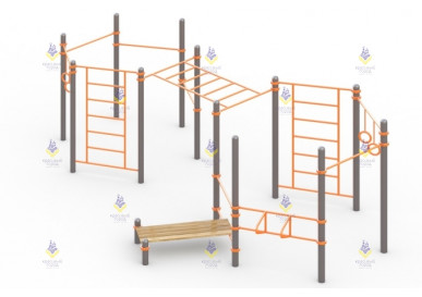 Спортивный комплекс из 4-х турников, скамьи для пресса, шведской стенки, турника для отжимания и гимнастических колец
